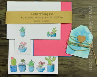 The Gardener's Letter Writing Set - Cactus Cacti pot plants, blue, pink and green.