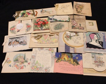 Lot of 18 Antique/Vintage 1940's Era Wedding & Anniversary Cards with Great Old Handwriting