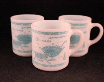 Set of 3 Vintage Hazel Atlas White Milk Glass with Turquoise Kitchen Gadgets Coffee Mugs