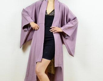 Vintage antique kimono, kimono jacket, vintage kimono, Japanese kimono, 80s kimono, midi length kimono, purple kimono, boho kimono, kimono