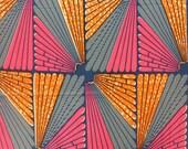 African Print by the Yard, Wax print, Colourful Ankara, Orange pink and blue print, Abstract African fabric, Fan Ankara print, African print