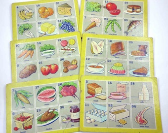 Vintage Food Lotto Game Cards with Great Images Set of 6