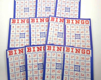Vintage Red White and Blue Patriotic Bingo Cards Set of 11 Lot B