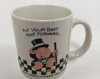 vintage coffee mug 1987 American Greetings Ziggy Coffee Mug Cup Put Your Best Foot Forward