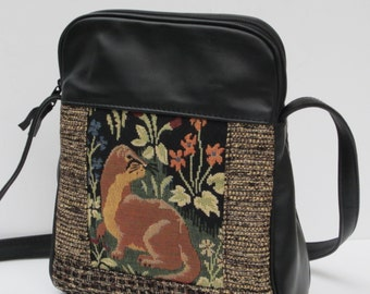 SHOULDER BAG Fabric and Leather Ferret Quail