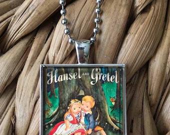Hansel and Gretel Little Golden Book 60s 70s Nostalgia Glass Pendant Necklace