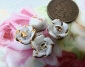 3 Vintage Porcelain Japan White/Gold Flower Cabs, C29