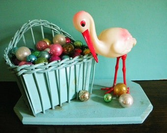 Large Vintage Celluloid Stork with Wicker Basket Baby Nursery Shower Gift