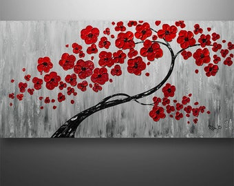 Abstract Painting,Landscape Painting, Wall Art, Wall Decor, Tree Painting, Black White Red, Painting, Large Painting, Texture, Made To Order