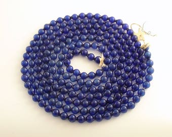 Vintage Glass Bead Garland Cobalt Blue Christmas Tree Garland