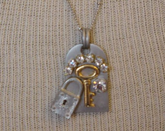 Steampunk necklace Whimsical Skeleton key necklace padlock keyhole necklace rhinestones Boho