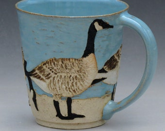 BIRDS & BEACH MUG --16 ounce size with 4 Canada Geese