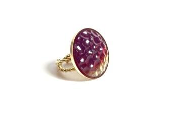 Garnet and Gold Ring, Garnet Ring, Statement Ring, Vintage Ring