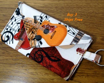 Wallet Case Credit Card Holder Key Ring Womens Wallet Guitar Case