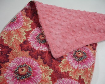 Sunflowers with Coral Minky Baby Burp Cloth 10 x 20 READY TO SHIP