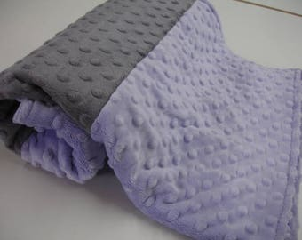 Lavender and Gray Double Sided Minky Blanket 23 x 36 READY TO SHIP