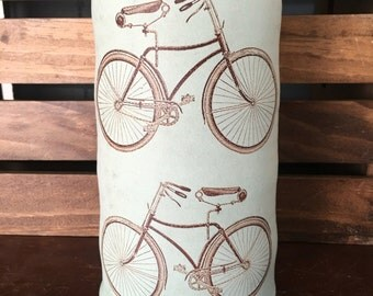Durable Green Stoneware Bicycle Flower Vase