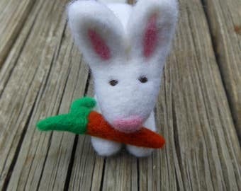 White Wool Needle Felted Bunny Rabbit and Carrot