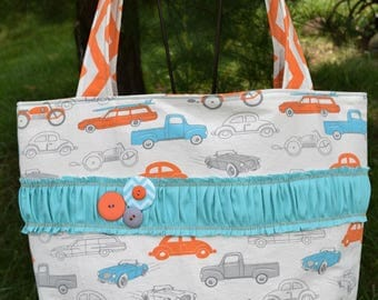 """The """"OUT & ABOUT"""" Tote Bag Shabby Chic design in natural ivory / orange / turquoise  prints extra large size cars trucks planes travel surf"""