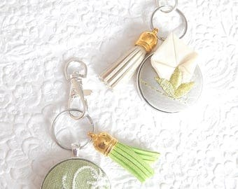 Embellished key ring, key fob, tassel ring, green keyring, bridesmaid gift, handbag accessory