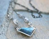 Triangle Labradorite Gemstone, Herkimer Diamond, Oxidized Sterling Silver Satellite Chain Necklace, Herkimer and Labradorite Necklace