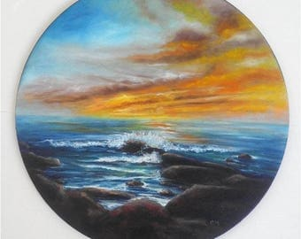 """Round Oil Painting Seascape Sunset Rocky Beach 16"""", Ready to Ship"""