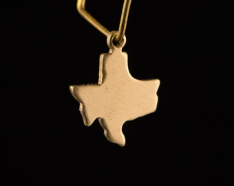Raw Brass Tiny Texas Blank State Charm Drops (6) chr228A