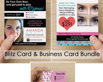 Blitz Card & Business Card Bundle-Opportunity and Mascara (Lipstick/Kisses Design)