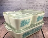 Pyrex Butterprint Refrigerator Set ~ 8 Pieces ~ Aqua Blue and White