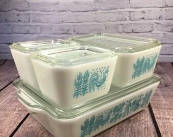 Pyrex Butterprint Refrigerator Set ~ 8 Pieces ~ Aqua Blue and White
