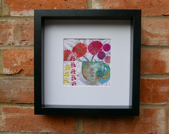 original handmade wall art, flower embroidery using fabric and paper, Cup and Red Flowers