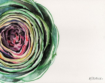 Fine art Print or original watercolor by Redstreake, artichoke vegetable kitchen  2 inches