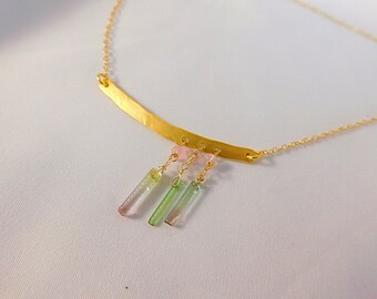 Tourmaline Necklace - Charm Necklace - Tourmaline Jewelry - Gold Necklace