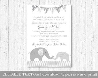Cute Elephant Baby Shower Invitation / Elephant Baby Shower / Chevron Pattern / Grey & White / INSTANT DOWNLOAD Editable PDF A144