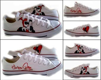 Harley Quinn, Converse Lo Tops, Womens Sneakers, Geek, Comics, White Shoes, Custom Painted Shoes, SciFi, Shoes Included