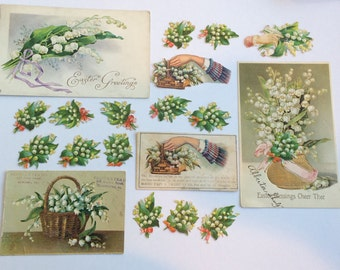 Victorian die cut Lily of the Valley Ephemera Lot Scraps Postcards Trade Card From 1883 Scrapbook