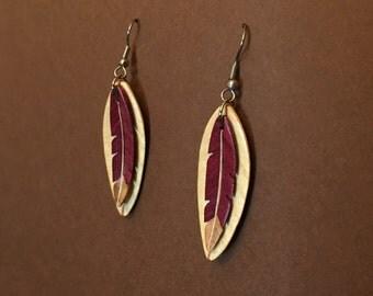 Handcarved Wood Feather / Leaf Earrings J170101