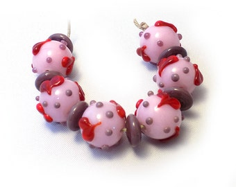 Red Heart Scatter Lampwork  Bead Set SRA SRAJD