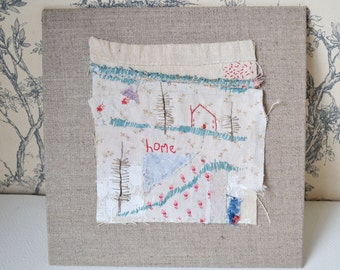 Price reduced ... ARTWORK textile ORIGINAL : antique fabrics with hand embroidery - Home