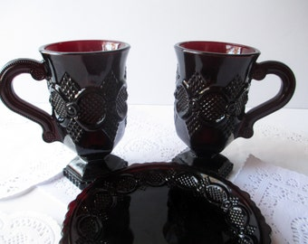Vintage Avon Cape Cod Ruby Red Saucers and Mugs Set of Four