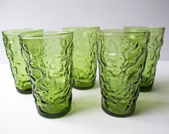 Vintage Juice Glasses Anchor Hocking Lido Avocado Green Set of Five - Retro