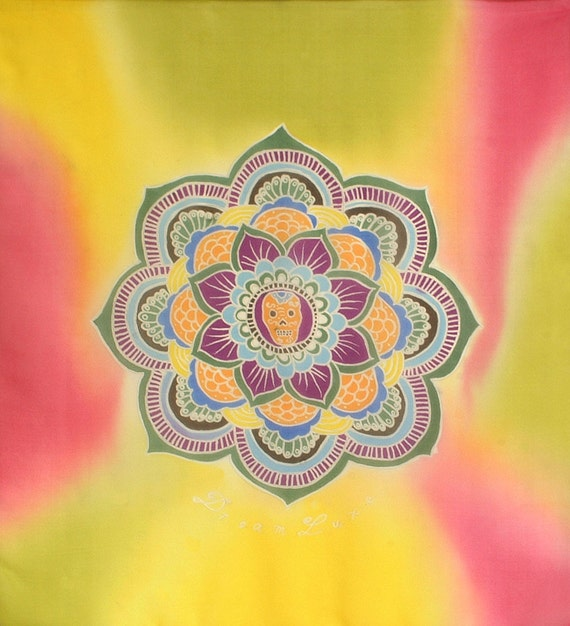 Mandala flower and skull bright square hand made silk scarf
