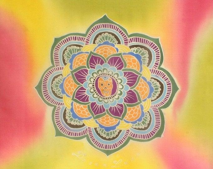 Silk scarf handpainted, Mandala scarf, Flower scarf, Skull scarf, Hand made scarf, Yellow , pink scarf, Sacred geometry, Chiffon scarf