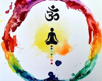 Rainbow Meditation Ring, Original Painting, chakra, energy, yoga, rainbow, om, ohm, canvas, zen