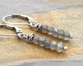 Labradorite Earrings, Sterling Silver, Gray Labradorite Earrings, Labradorite Drop Earrings, Lever Back Ear Wire, Labradorite Jewelry, #4726