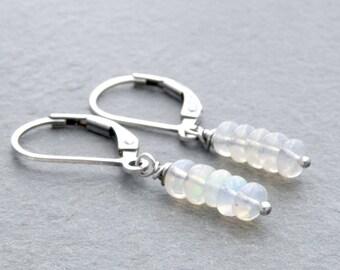 Opal Earrings for Women, October Birthstone, Welo Ethiopian Opal Dangle Earrings with Sterling Silver Lever Back Ear Wires #4787