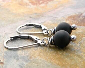 Matte Black Earrings, Black Gemstone Earrings, Sterling Silver, Black Onyx Earrings for Women, Everyday Earrings, #4729