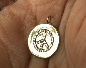 Yellow gold diamond pave disc charm lire coin pendant