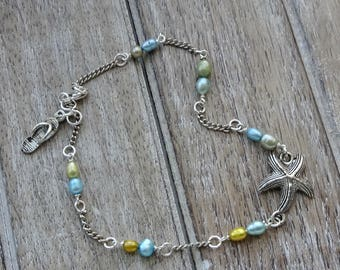 Pearl Bead Ankle Bracelet, Starfish Silver Chain Anklet, Anklet, Freshwater Culture Pearl Bead Anklet, Summer Jewelry, Beach, Gift for Her
