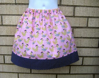 Pink and Navy Seaside Seals Skirt, Size 6M to 8Y